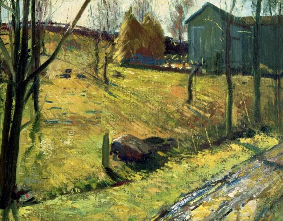 Haystacks and Barn, George Bellows, 1909